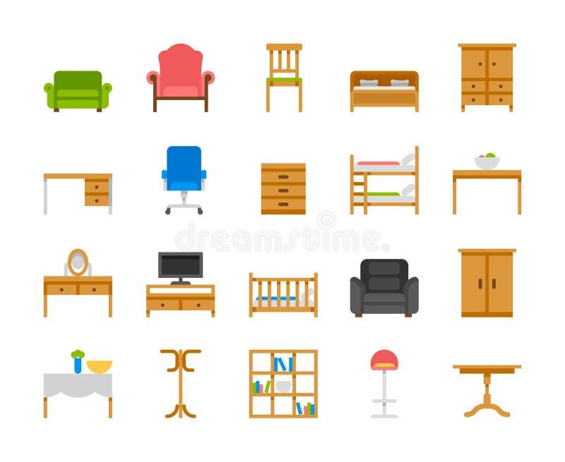 Domowego i biurowego meble wnętrzy mieszkania ikony royalty ilustracja