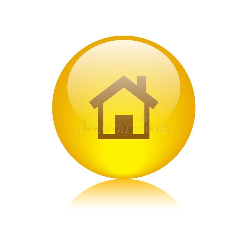 Domowego ikony sieci guzika złoty kolor żółty ilustracja wektor