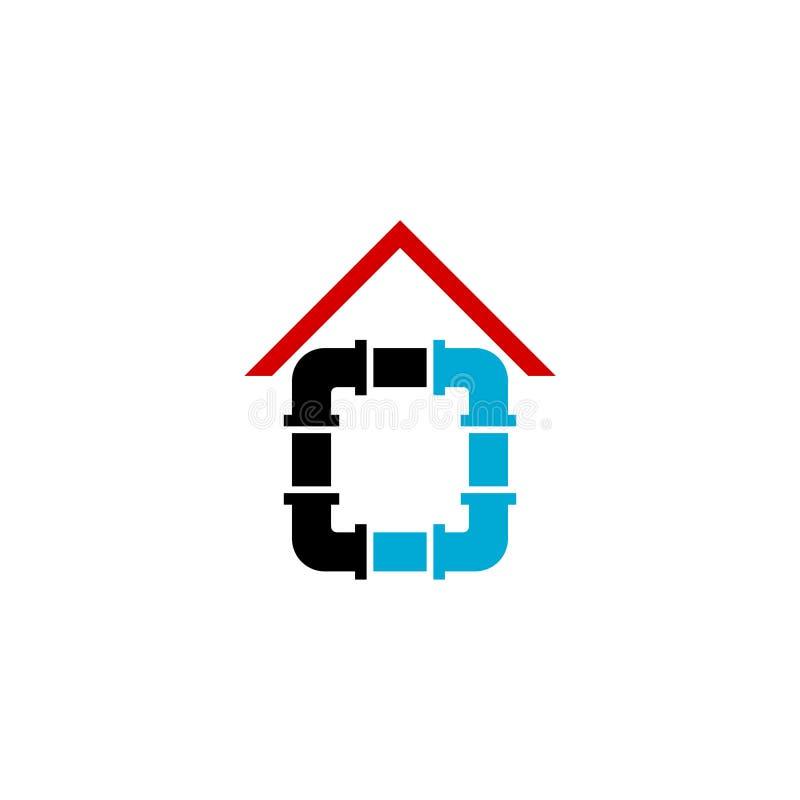 Domowego instalacji wodnokanalizacyjnej naprawy symbolu logo wektorowa ikona ilustracji