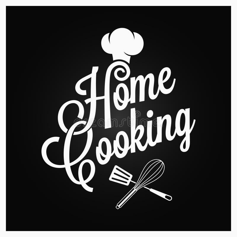 Domowego kucharstwa rocznika literowanie z kuchennymi naczyniami na ciemnym tle royalty ilustracja