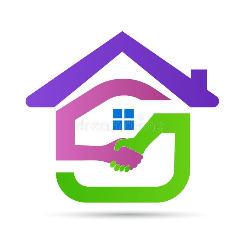 Domowego loga domu ręki potrząśnięcia nieruchomości budynku architektury budowy życzliwego symbolu ikony wektorowy projekt ilustracja wektor