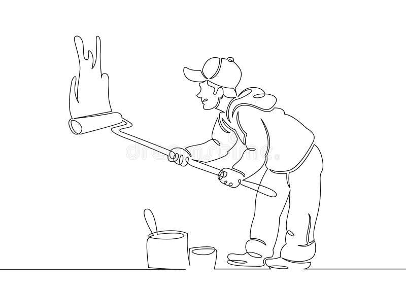 Domowego malarza budowniczy ilustracja wektor