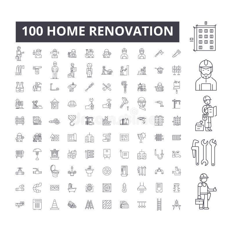 Domowego odświeżania editable kreskowe ikony, 100 wektorów set, kolekcja Domowe odświeżania czerni konturu ilustracje, znaki royalty ilustracja