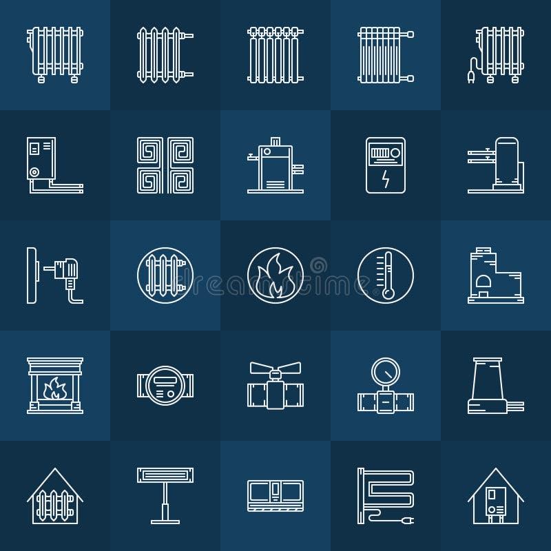 Domowego ogrzewania ikony ustawiać royalty ilustracja