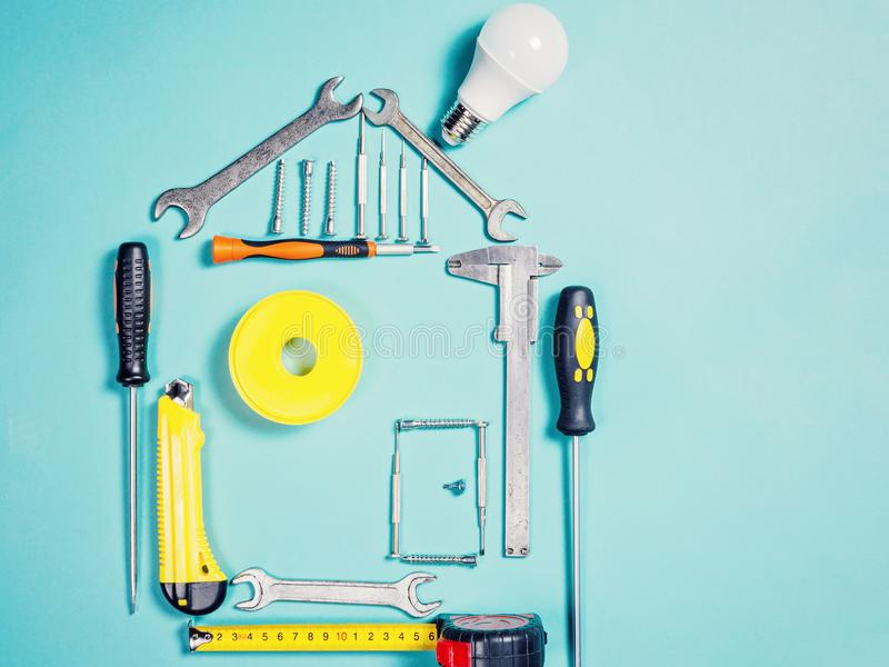 Domowego ulepszenia pojęcie Ustalony pracy handtool dla budowy lub naprawy dom zdjęcie royalty free