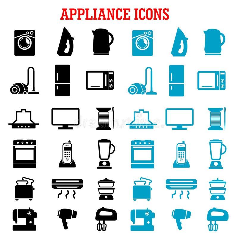 Domowego urządzenia i wyposażenia mieszkania ikony royalty ilustracja