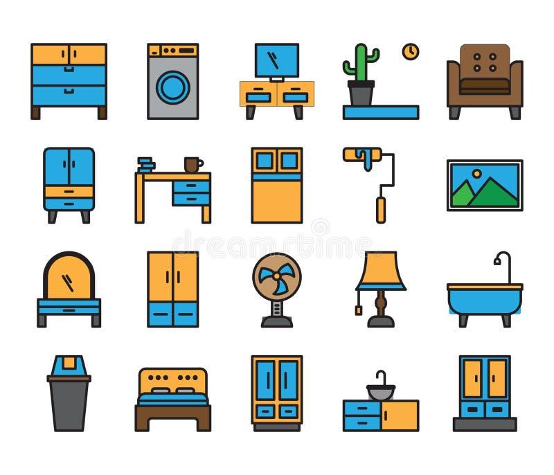 Domowego urządzenia ikony który zawsze używamy ilustracja wektor