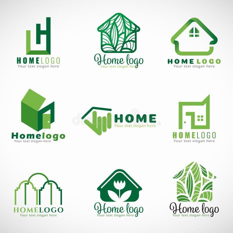 Domowego wektoru ustalony projekt zieleń loga natura i nowożytny pojęcie () ilustracji