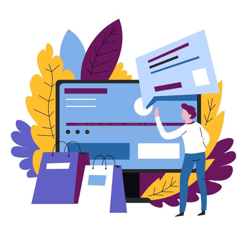 Domowego zakupy online sklepowego rozkazu Internetowy sklep ilustracji
