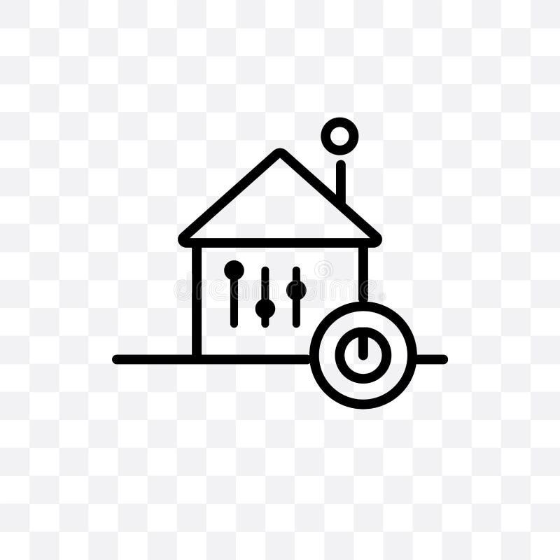Domowej automatyzacji wektorowa liniowa ikona odizolowywająca na przejrzystym tle, Domowej automatyzacji przezroczystości pojęcie ilustracji