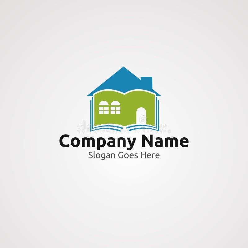 Domowej biblioteki logo wektor, ikona, element i szablon dla firmy, royalty ilustracja