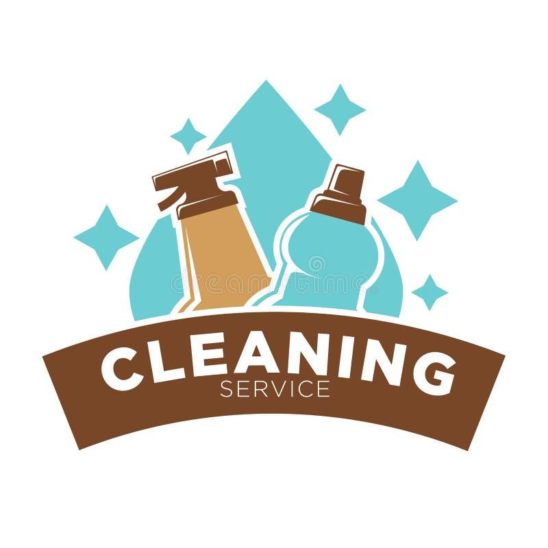 Domowej cleaning usługa wektorowa ikona wody kropla i domycia mydlany cleaner royalty ilustracja