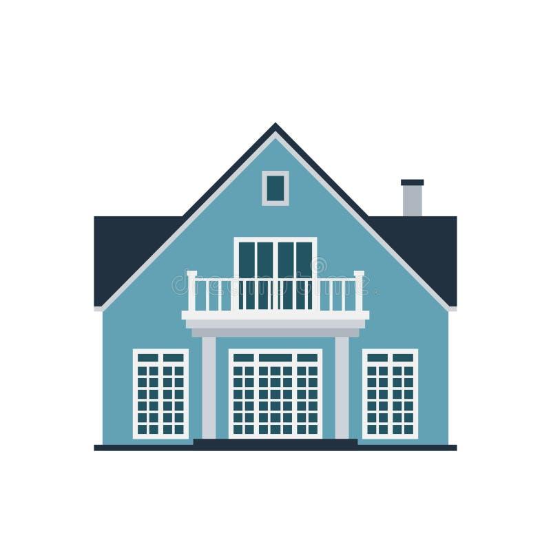 Domowej frontowego widoku budynku architektury domu budowy wektorowej ilustracyjnej nieruchomości własności dachu mieszkaniowy mi ilustracja wektor