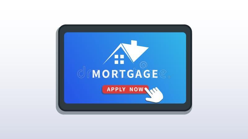 Domowej hipoteki online usługa, mobilny app Zakup nieruchomość, hipoteczny pożyczkowy zastosowanie Płaski smartphone lub pastylka ilustracji