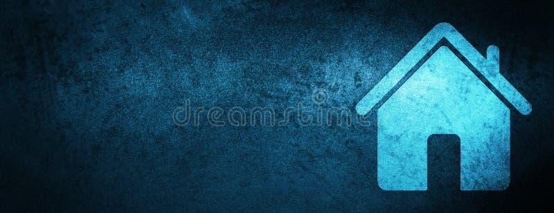Domowej ikony sztandaru specjalny błękitny tło ilustracja wektor