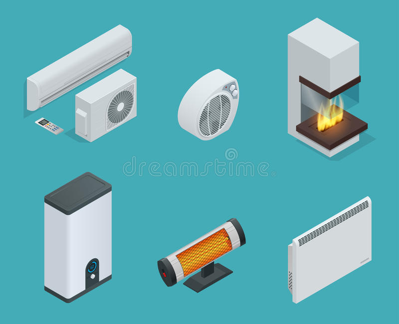 Domowej klimatu wyposażenia isometric ikony ustalona graba, konwektoru nagrzewacz, elektryczny nagrzewacz, Infrared nagrzewacz, b royalty ilustracja