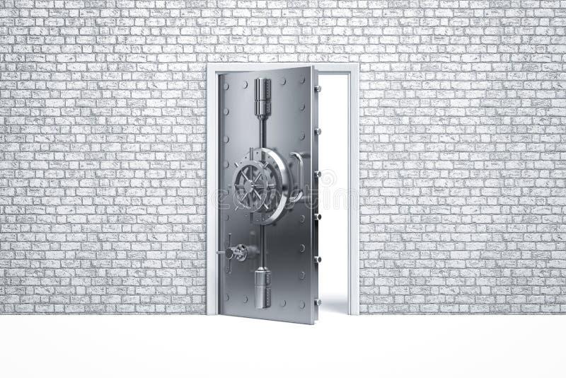 Domowej ochrony bezpieczny drzwi na ściana z cegieł fotografia royalty free