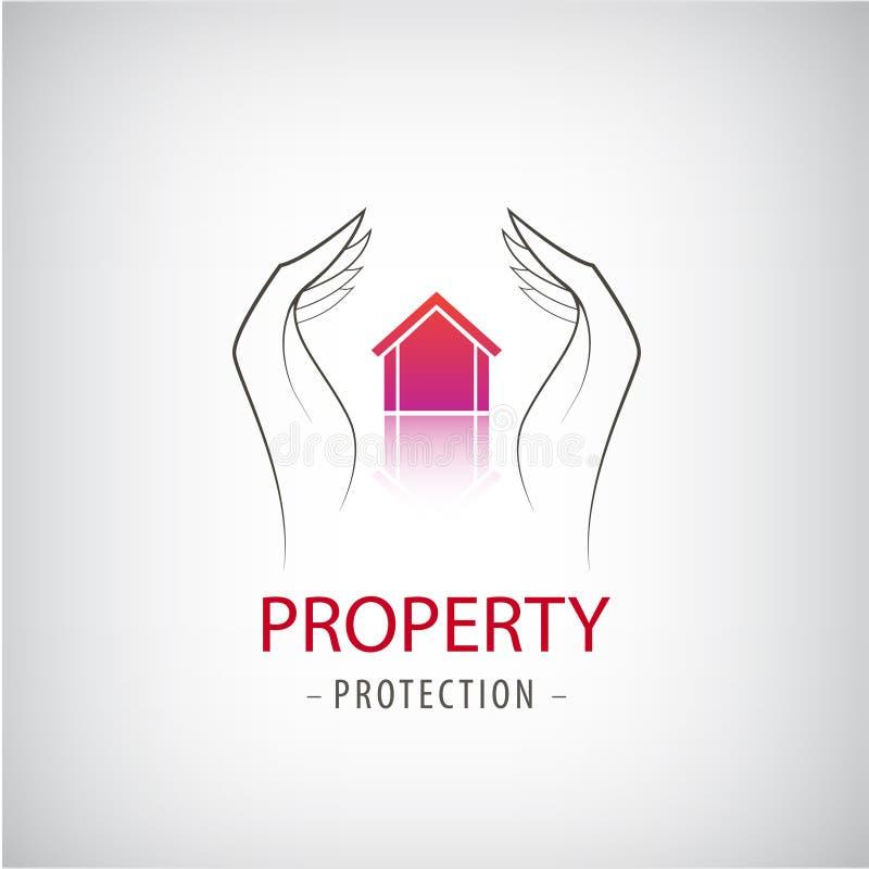 Domowej ochrony biznesu symbol Unikalny ikony pojęcie dla firmy ubezpieczeniowej lub strażnika firmy ilustracji