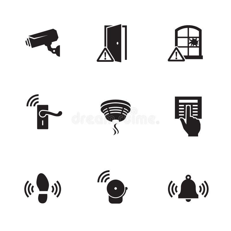 Domowej ochrony czujniki i wyposażenie ikony ustawiać obraz royalty free