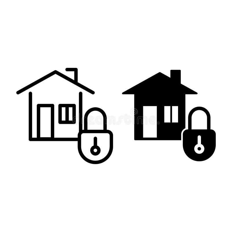 Domowej ochrony linia i glif ikona Dom z kędziorek wektorową ilustracją odizolowywającą na bielu Skrytka domu konturu stylu proje ilustracja wektor