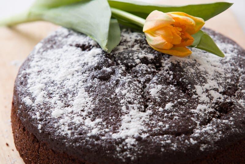Domowej roboty świeży czekoladowy urodzinowy tort z białego cukieru proszkiem na wierzchołku i wiosny świetle - pomarańczowy tuli fotografia stock
