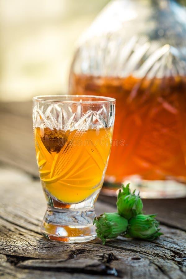 Domowej roboty ajerkoniak z hazelnuts i alkoholem fotografia stock