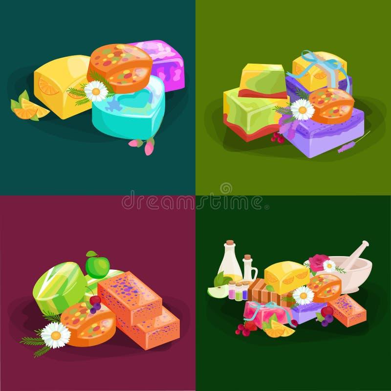 Domowej roboty bary mydeł, kwiaty i istotny olej, ikona internetu piktogram sieci ustalić stronę internetową nosicieli ilustracji