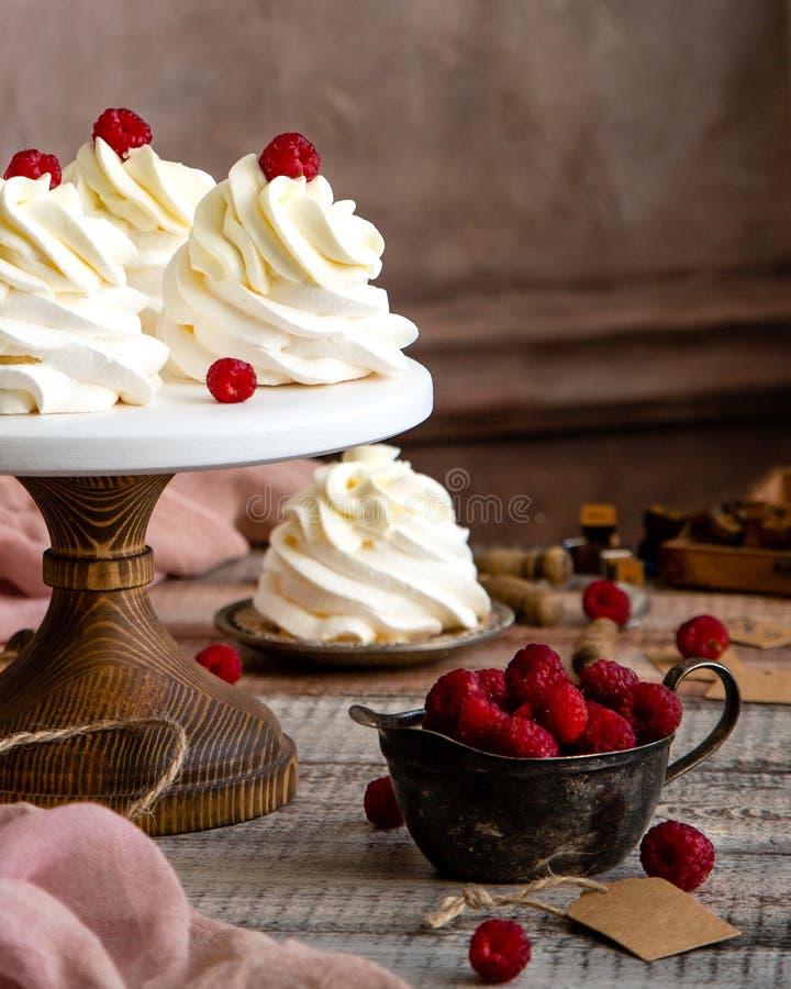 Domowej roboty biały mini deseru pavlova na drewnianym torta stojaku z batożyć malinkami na popielatym stole z różowym płótnem i  fotografia royalty free