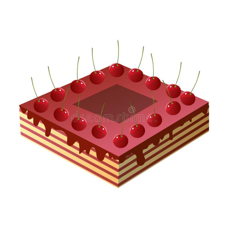 Domowej roboty cukierki tort z świeżą czerwoną wiśnią i jem royalty ilustracja
