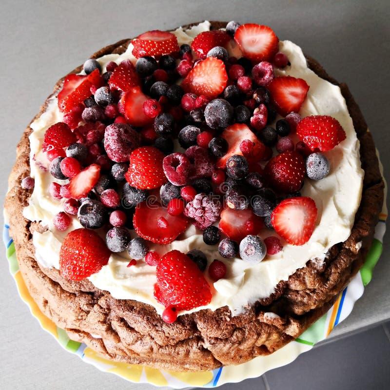 Domowej roboty czekoladowy tort z białymi jagodami i śmietanką zdjęcia stock