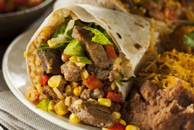 Domowej roboty Gigantyczny wołowiny Burrito zdjęcia royalty free