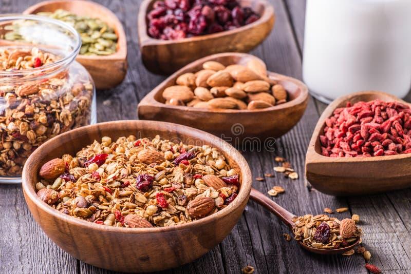 Domowej roboty granola z mlekiem, jagodami, ziarnami i dokrętkami, fotografia royalty free