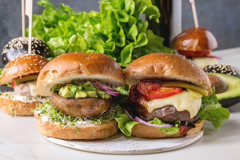 Domowej roboty hamburger rozmaitość obrazy stock