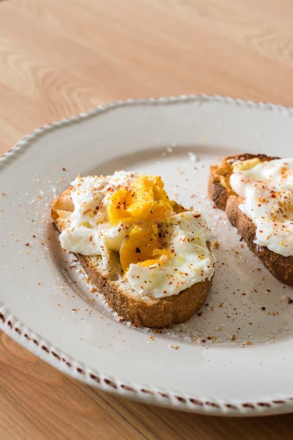 Domowej roboty K?usuj?cy jajka z pikantno?? i chlebem na Drewnianej powierzchni zazwyczaj s?uzy? z kaw? obraz royalty free