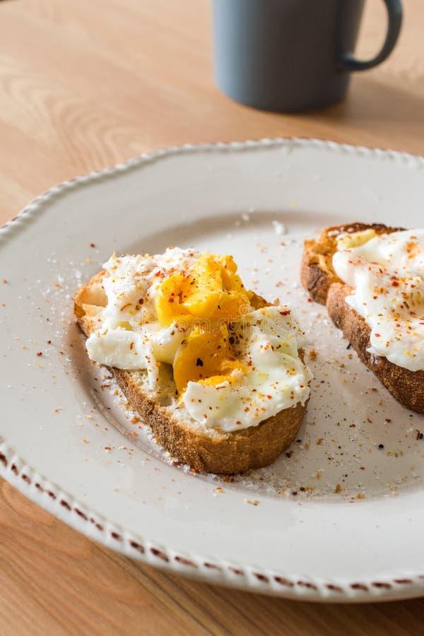 Domowej roboty K?usuj?cy jajka z pikantno?? i chlebem na Drewnianej powierzchni zazwyczaj s?uzy? z kaw? fotografia stock