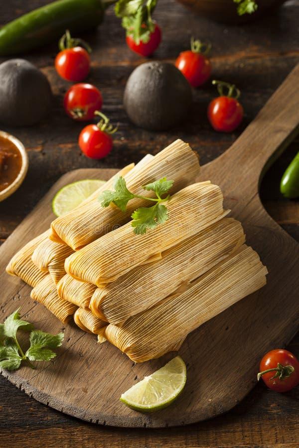 Domowej roboty kukurudzy i kurczaka tamales obraz stock