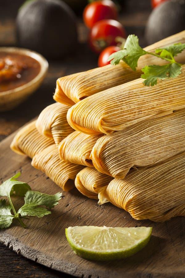 Domowej roboty kukurudzy i kurczaka tamales zdjęcia stock