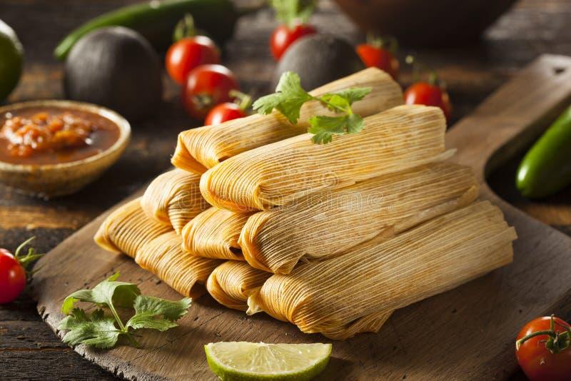 Domowej roboty kukurudzy i kurczaka tamales fotografia royalty free