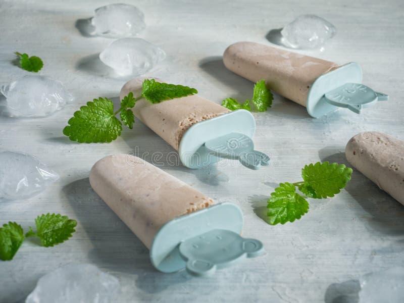 Domowej roboty lody z owoc i syropem na dekoracyjnych kijach jest na lekkim tle na nowych liściach stół rozpraszającym lodzie i zdjęcie royalty free