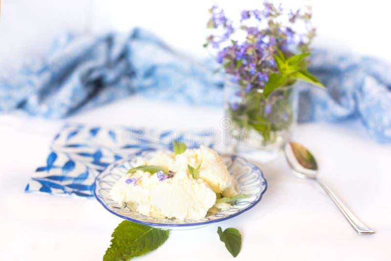 Domowej roboty lody z zielonymi liśćmi miętówka na nim zdjęcia stock