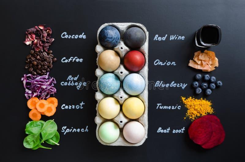 Domowej roboty naturalnie farbuj?cy Wielkanocni jajka obraz stock