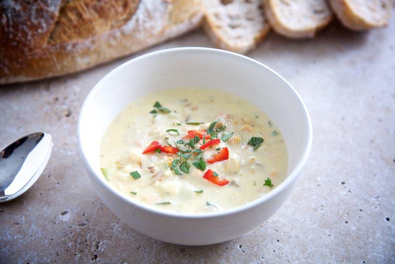 Domowej roboty owoce morza gęstej zupy rybnej polewka fotografia stock