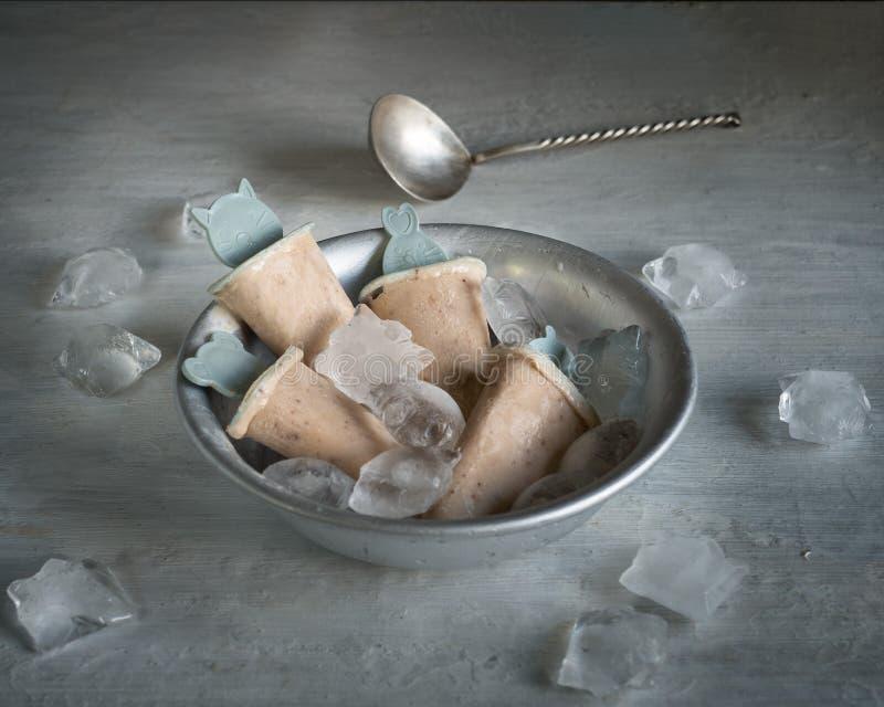 Domowej roboty owocowy lody w głębokim aluminium talerzu z kawałkami lód na zaświeca stół obrazy royalty free