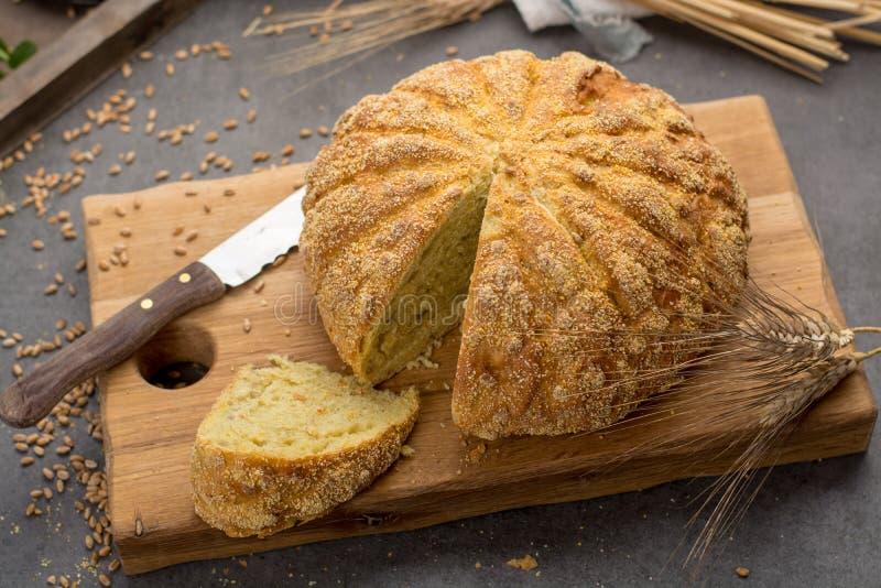 Domowej roboty piec wokoło chleba z kukurudzą i banatką zdjęcie stock