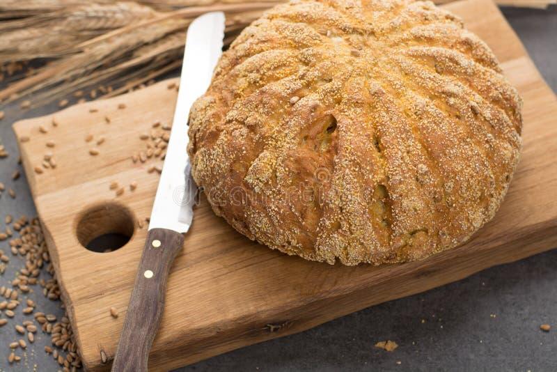 Domowej roboty piec wokoło chleba z kukurudzą i banatką obrazy stock