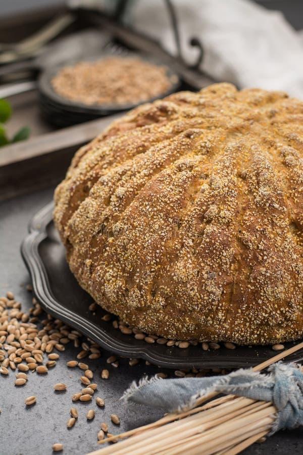 Domowej roboty piec wokoło chleba z kukurudzą i banatką obraz royalty free