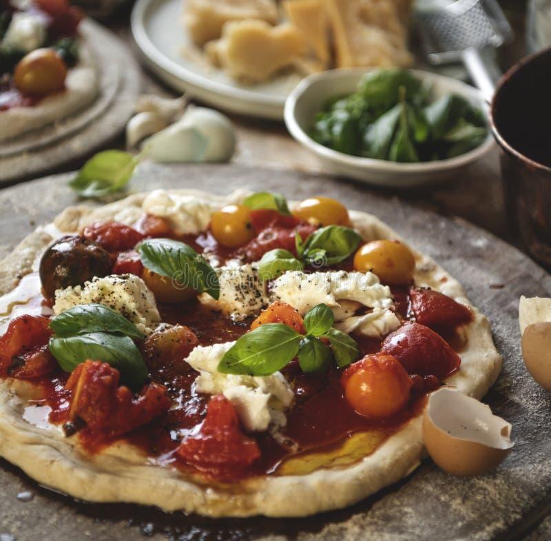 Domowej roboty pizzy fotografii przepisu karmowy pomysł obrazy royalty free
