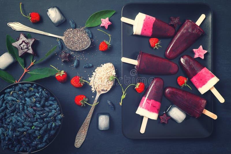 Domowej roboty popsicles mieszkanie nieatutowy fotografia royalty free