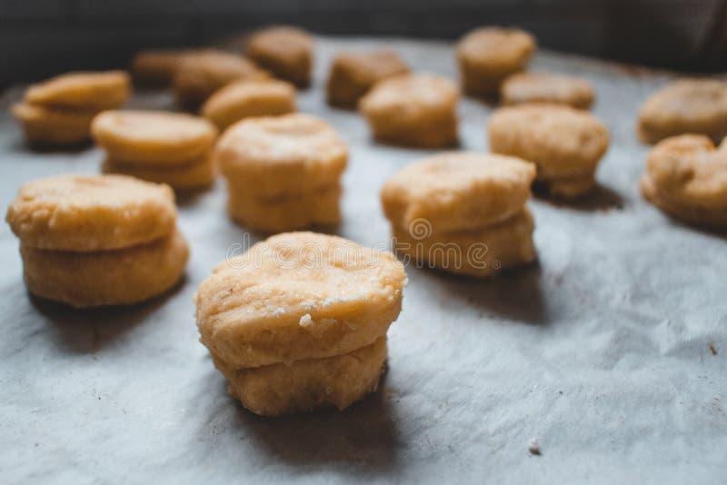 Domowej roboty scones gotowi iść w piekarniku zdjęcie royalty free
