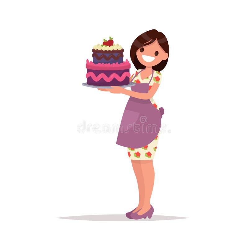 domowej roboty tort urodzinowy Gospodyni domowa trzyma pięknego tort Vect ilustracji